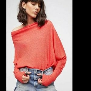 Free People Cherry Red Londontown Thermal Top NWT